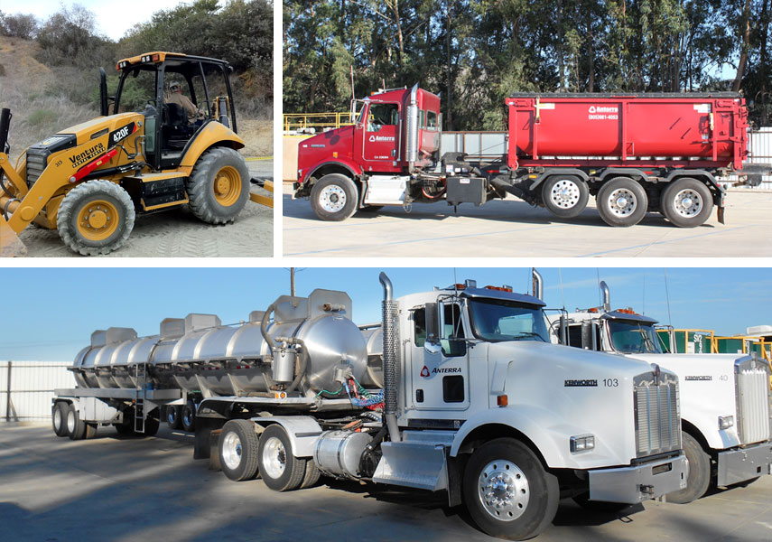 services by anterra oilfield waste disposal collection and transportation, collection trucks, back hoe, vaccum trucks, roll off trucks