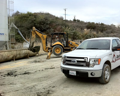 anterra environmentally freindly oilfield waste management support, back hoe, los angeles